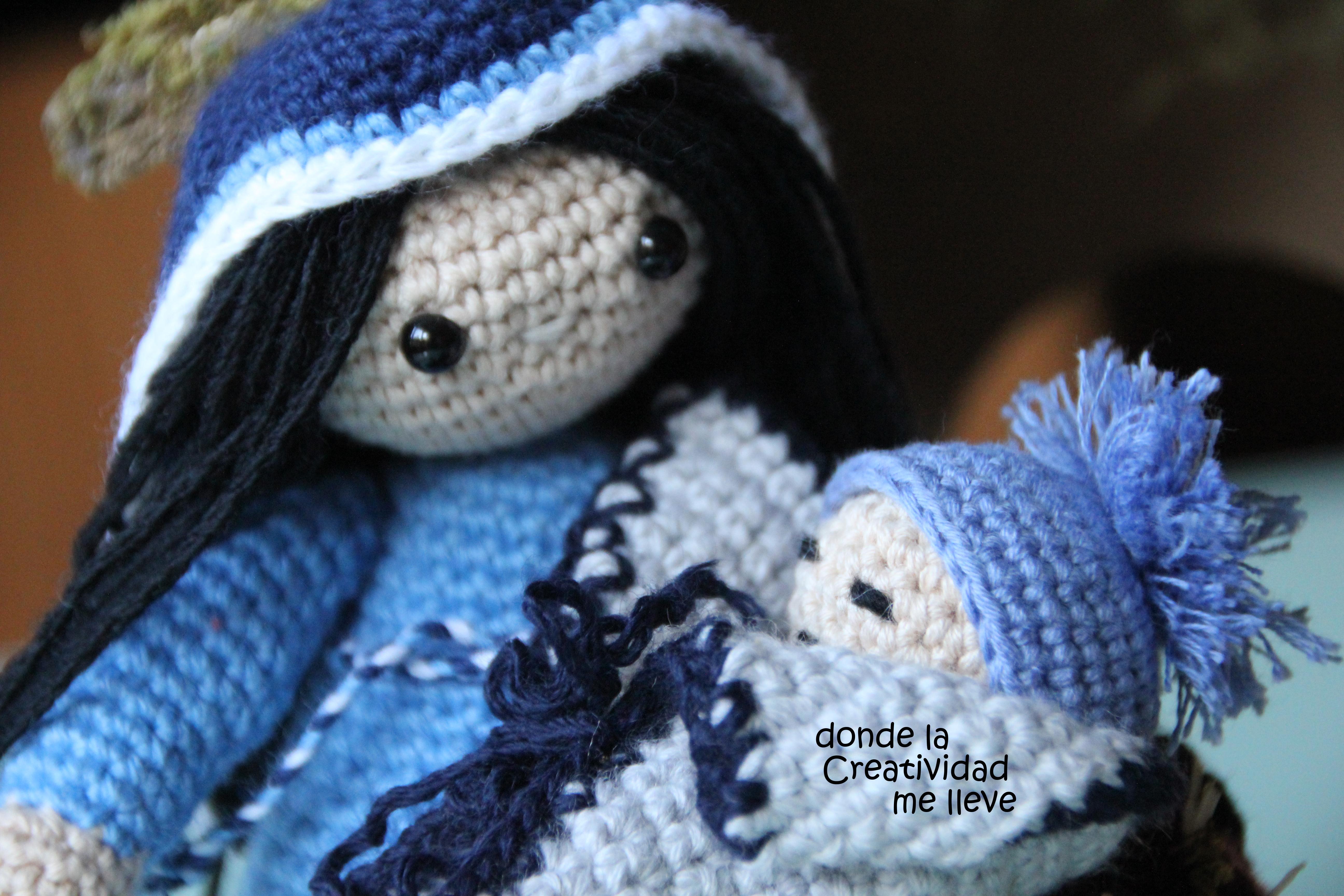 María y el Niño Jesús tejido en ganchillo